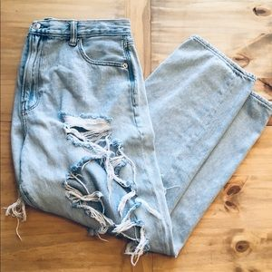 American Eagle Lightwash Distressed Denim
